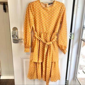 Shein women's yellow & white polka dot dress XS
